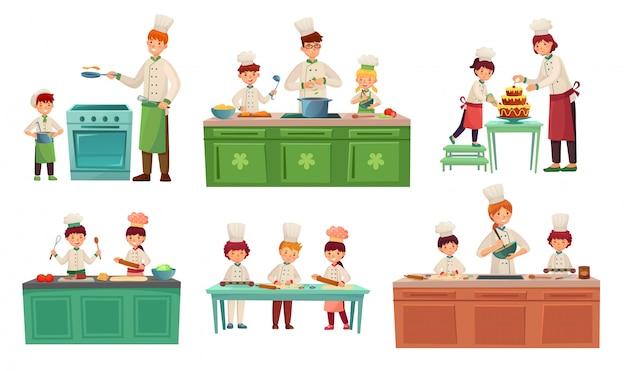 Cucina per bambini. bambini che cuociono o cucinano il cibo, classi principali dei bambini e cucinano con l'insieme dell'illustrazione del bambino