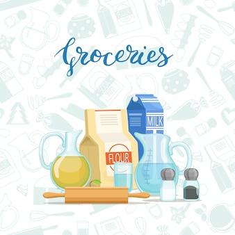 Cucinando ingridients o generi alimentari impilano con le lettere e le drogherie di stile piano monocromatiche