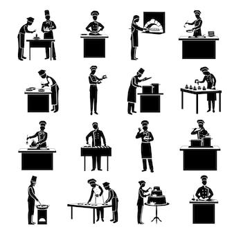 Cucinando l'insieme del nero delle icone con le figure del cuoco unico del ristorante hanno isolato l'illustrazione di vettore