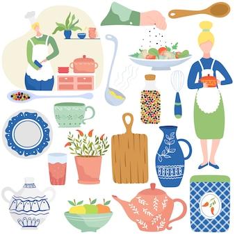 Cucinando nella cucina domestica, illustrazione isolata delle icone