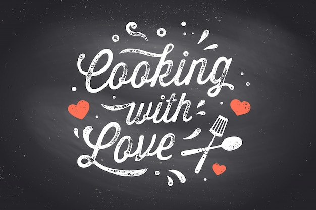 Cucinare con amore. poster di cucina. decorazione della parete della cucina, segno, citazione