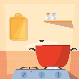 Cucinare con pentola della cucina in stufa