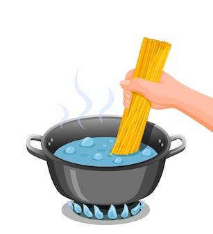Cucinare gli spaghetti. la mano ha messo gli spaghetti sulla pentola dell'acqua bollente per l'illustrazione di istruzioni del cuoco della pasta nel vettore del fumetto isolato