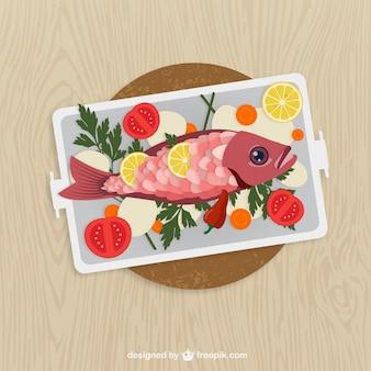 Cucinato pesce e verdure su un piatto