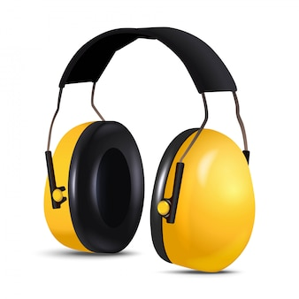 Cuffie per lavoratori appaltatore di apparecchiature di sicurezza 3d, protezione dal rumore. isolato.