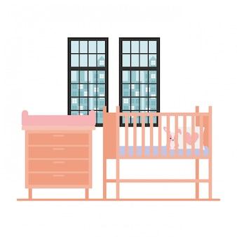 Culla isolata del bambino nella sala
