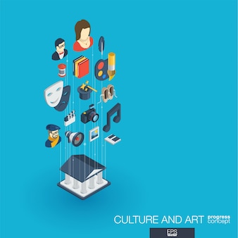 Cultura, arte icone web integrate. concetto di progresso isometrico della rete digitale. sistema di crescita della linea grafica collegato. sfondo per artista teatrale, musica, conto spettacolo circense. infograph