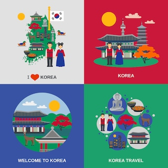 Cultura coreana piatto 4 icone quadrate