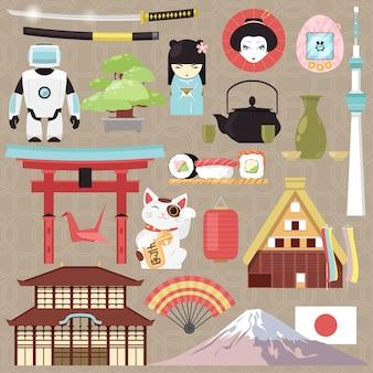 Cultura giapponese del giappone e architettura o sushi orientale di cucina nell'illustrazione di tokyo