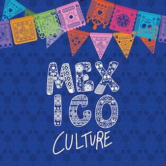 Cultura messicana con design a stendardo.