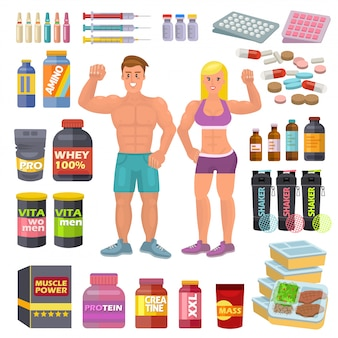 Culturisti sportivi cibo bodybuilding integratori proteici alimentazione di energia e fitness dieta per bodybuilding allenamento illustrazione set di agitatori di energia per la crescita muscolare isolato su spazio bianco