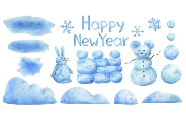 Cumuli di neve, fiocchi di neve, pupazzi di neve, palle di neve. serie di illustrazioni invernali per la decorazione