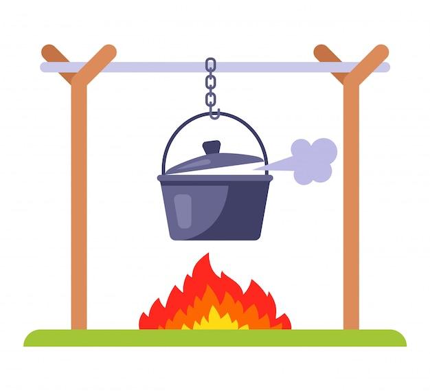 Cuocere il cibo sul rogo. pranzo camper in natura. illustrazione piatta.