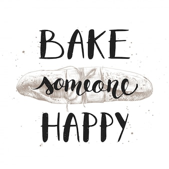 Cuocere qualcuno felice con baguette incisa