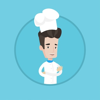 Cuoco capo maschio sicuro con le braccia attraversate.