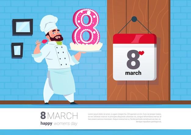 Cuoco che tiene la torta per la bandiera creativa di giorno felice delle donne di festa dell'8 marzo