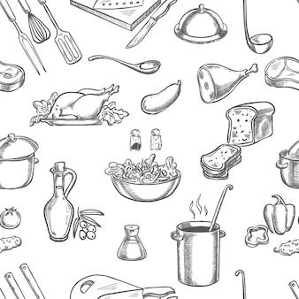 Cuoco, cucina, ingredienti e disegno a mano dell'attrezzatura