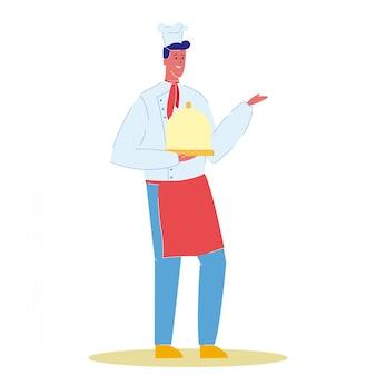 Cuoco del cuoco unico con l'illustrazione di vettore del fumetto del piatto