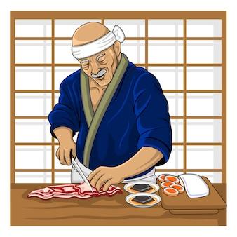 Cuoco giapponese anziano