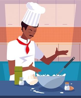 Cuoco professionista che cucina nella scena della cucina