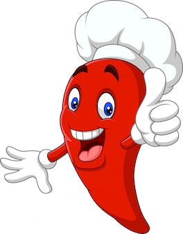 Cuoco unico del peperoncino rosso del fumetto che dà i pollici su
