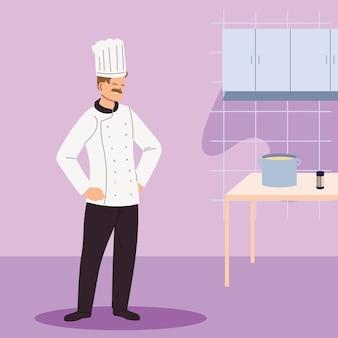 Cuoco unico dell'uomo nella progettazione dell'illustrazione della cucina del ristorante