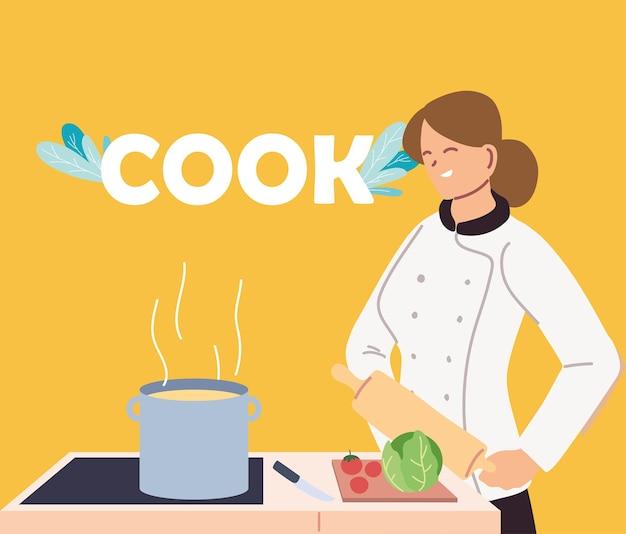 Cuoco unico della donna con disegno dell'illustrazione della stufa di industrie