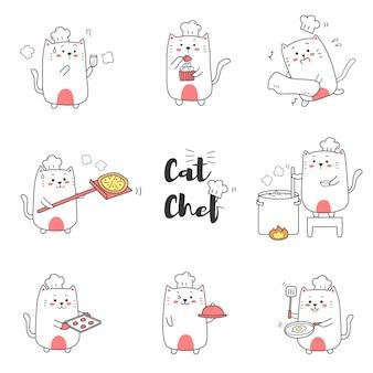 Cuoco unico di gatto sveglio che cucina fumetto disegnato a mano per il bambino.