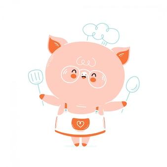 Cuoco unico di maiale sorridente felice carino. isolato su bianco progettazione dell'illustrazione del personaggio dei cartoni animati di vettore, stile piano semplice. carta di chef maiale carino