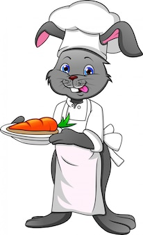 Cuoco unico e carota felici del coniglio del fumetto