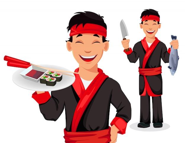 Cuoco unico giapponese che cucina i rotoli di sushi