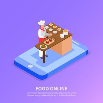 Cuoco unico isometrico che cucina l'illustrazione italiana di vettore di concetto 3d del telefono e dell'alimento