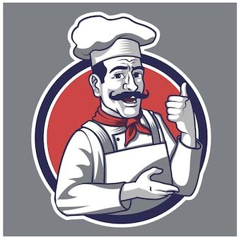 Cuoco unico retrò cartoon logo mascot