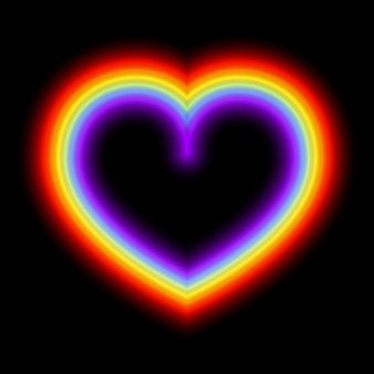 Cuore al neon arcobaleno incandescente
