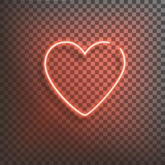 Cuore al neon un segno rosso brillante su un trasparente. elemento di design per un felice san valentino. illustrazione vettoriale