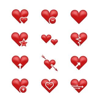 Cuore amore emoji, emoticon insieme vettoriale