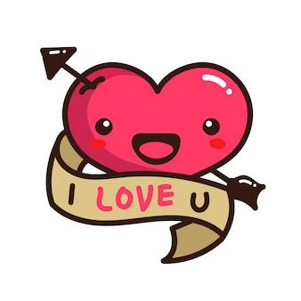 Cuore carino sorriso amore san valentino con freccia dardo