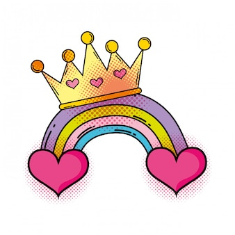 Cuore con arcobaleno in stile pop art