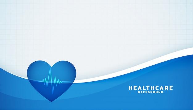 Cuore con cardiografo linea medica sfondo blu