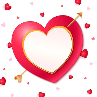 Cuore con cornice a freccia per san valentino
