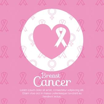 Cuore con nastro al seno cancro