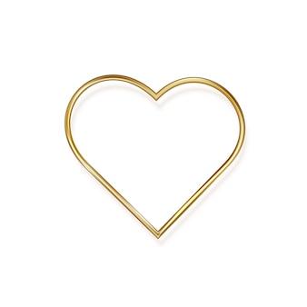 Cuore d'oro il giorno di san valentino, su uno sfondo bianco. romantico cuore in metallo dorato dal design minimalista.