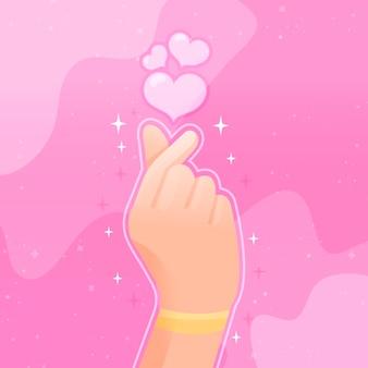 Cuore del dito disegnato a mano