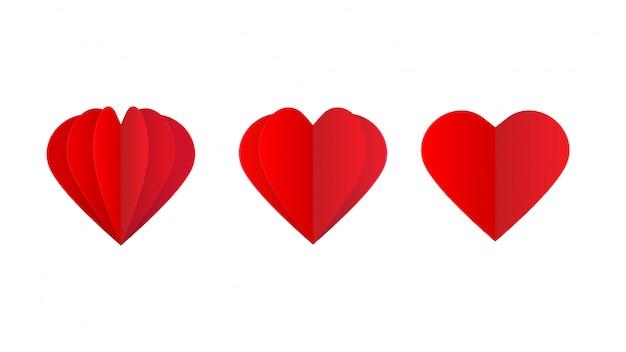 Cuore di carta. elemento di design sul tema di san valentino.
