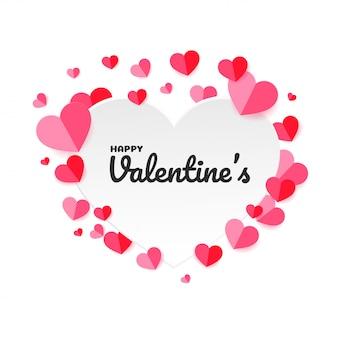 Cuore di carta rosa a forma di cuore sfondo per san valentino.