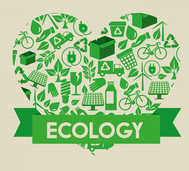 Cuore di ecologia con elemento di conservazione e nastro