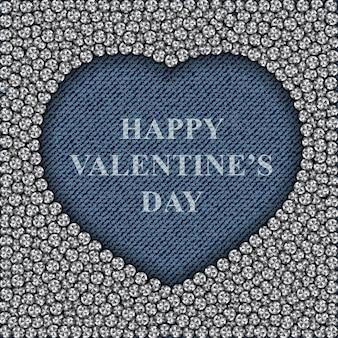 Cuore di jeans blu con diamanti e scritta happy valentines day