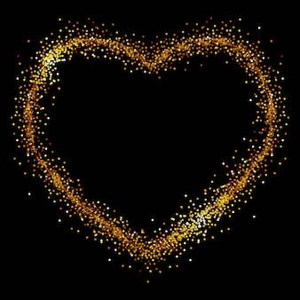 Cuore di lustrini d'oro su sfondo nero