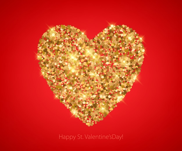 Cuore di paillettes glitter dorati su rosso.