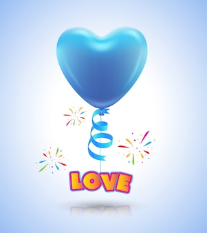 Cuore di palloncino per poster di evento di amore e carta san valentino